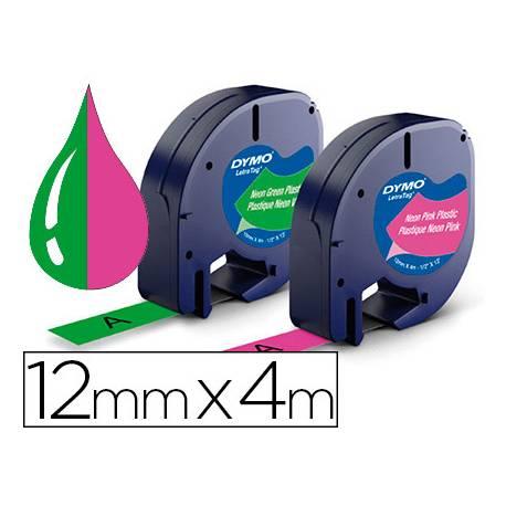 Cinta Letratag Dymo 12mm x 4m 2 unidades color rosa neon y verde neon