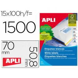 Etiquetas marca Apli para impresoras Inkjet, Láser y Fotocopiadoras 70x50,8 mm caja 100 hojas A4