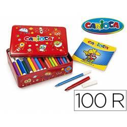 Rotulador Carioca caja metalica 100 rotuladores
