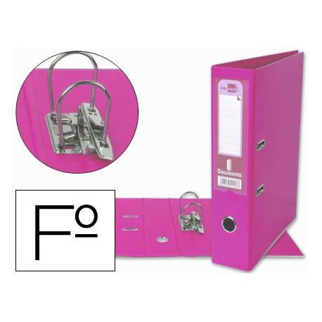 Archivador de palanca Liderpapel folio color rosa lomo 75mm