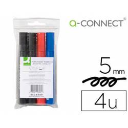Rotulador Q-Connect permanente estuche de 4 colores surtidos punta biselada trazo 5.0 mm