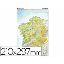 Mapa mudo a color Galicia físico DIN A4