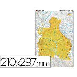 Mapa mudo físico Castilla León Tamaño Din A4