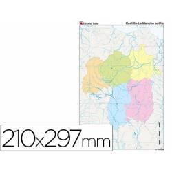 Mapa mudo político Castilla La Mancha Tamaño Din A4