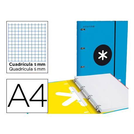 Carpeta con recambio Antartik A4 4 anillas 25 mm de Carton forrado color azul