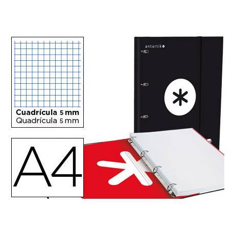 Carpeta con recambio Antartik A4 4 anillas 25 mm de Carton forrado color negro