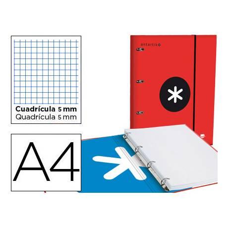 Carpeta con recambio Antartik A4 4 anillas 25 mm de Carton forrado color rojo