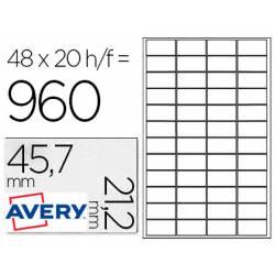 Etiquetas Adhesivas Avery 45.7x21.2mm Poliester Color Plata. Caja de 20 hojas.