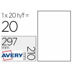 Etiqueta Adhesiva Avery 210x297 mm Poliester Blanco. Caja de 20 hojas
