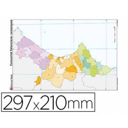 Mapa Mudo de Comunidad Valenciana DIN A4 Político Color