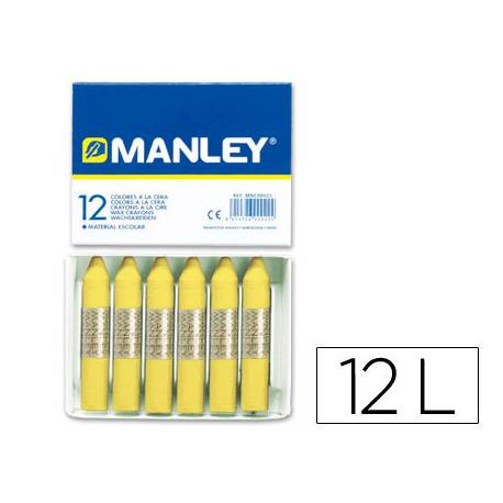 Lapices cera blanda Manley caja 12 unidades verde amarillo claro