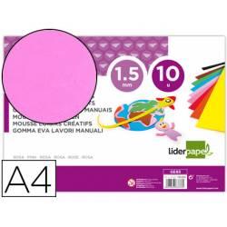 Goma eva liderpapel color rosa paquete de 10 hojas