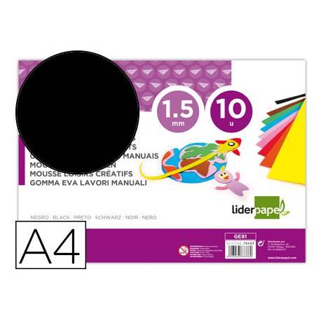 Goma eva liderpapel color negro paquete de 10 hojas
