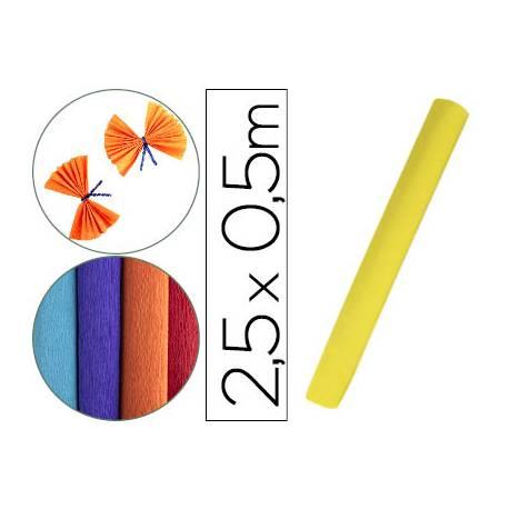 Papel crespon Liderpapel rollo 50x2,5cm 85 g/m2 color amarillo