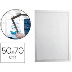 Marco porta anuncios magnético 50x70 color Plata