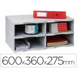 Archivador modular Archivo 2000 duo jumbo 4 casillas color gris 600x360x275 mm