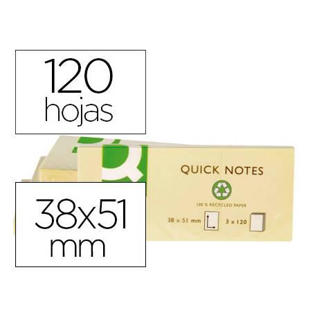 Bloc de notas Adhesivas Quita y pon Q-Connect papel Reciclado