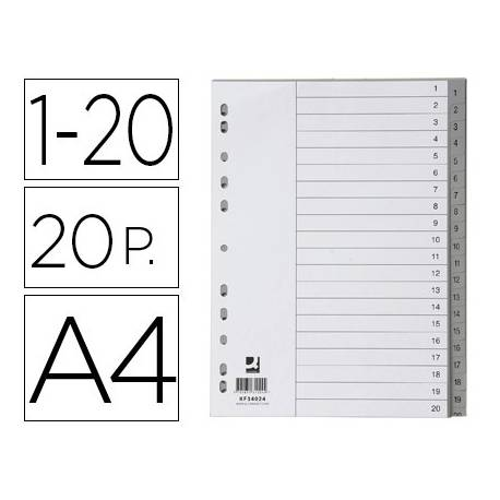 Separador Q-Connect Numerico 1-20 A4 multitaladro