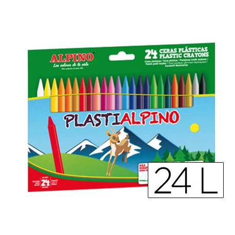 Lapices cera PlastiAlpino caja de 24 unidades colores surtidos