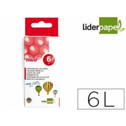 Lápices de colores Liderpapel caja de 6 colores mini