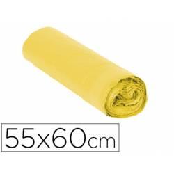Bolsa basura amarilla 55x60cm galga 120 rollo 15 unidades con cierre cierre facil