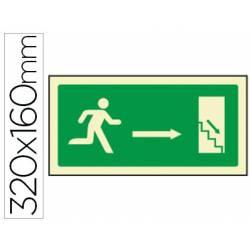 Señal marca Syssa salida emergencia derecha escaleras