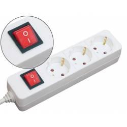 Regleta 3 tomas Mediarange con interruptor 1,4 m