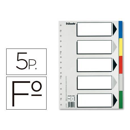 Separadores plastico Esselte Folio juego de 5 colores
