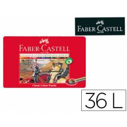 Lapices de colores Faber Castell hexagonales caja metal 36 unidades