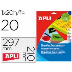 Etiqueta adhesiva Apli DIN A4 color naranja fluorescente