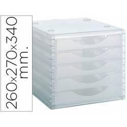 Modulo 5 cajones sobremesa marca Archivo 2000 transparente