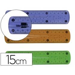 Regla plastico flexible marca Liderpapel 15 cm colores surtidos