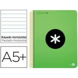 Bloc Antartik Folio Rayado Horizontal tapa dura 80 hojas 100g/m2 Verde con margen