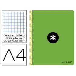 Bloc Antartik Folio Cuadrícula tapa Dura 80 hojas 100g/m2 Verde Flúor con margen