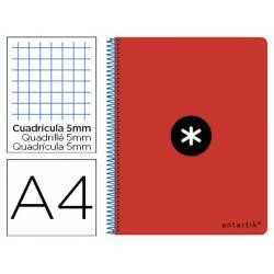 Bloc Antartik Folio Cuadrícula tapa Dura 80 hojas 100g/m2 Rojo con margen