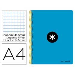 Bloc Antartik Folio Cuadrícula tapa Plástico 80 hojas 100g/m2 Azul con margen
