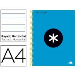 Bloc Antartik A4 Rayado Horizontal tapa Forrada 120 hojas 100g/m2 Azul 5 bandas de color