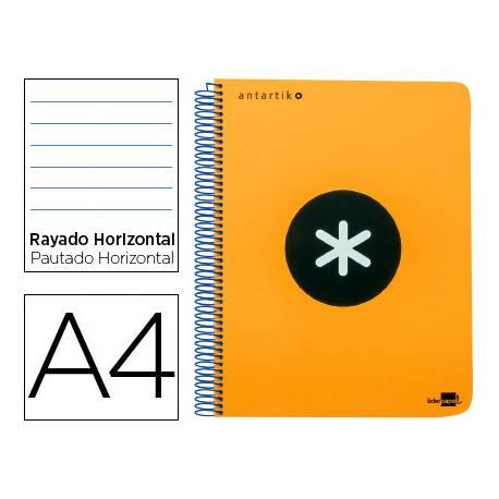 Bloc Antartik A4 Rayado Horizontal tapa Plástico 120 hojas100g/m2 Naranja 5 bandas color