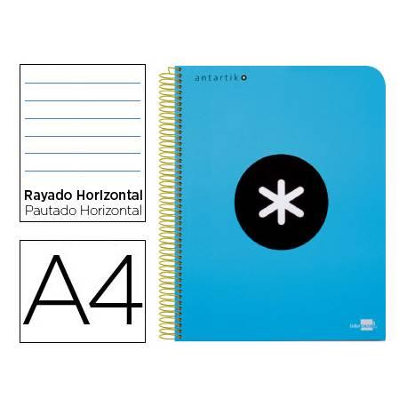 Bloc Antartik A4 Rayado Horizontal tapa Plástico 120 hojas 100g/m2 color Azul 5 bandas color