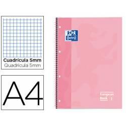 Cuaderno Oxford DIN A4 Rosa Dulce Tapa Extradura 80 hojas Cuadrícula 5 mm