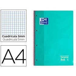 Cuaderno Oxford DIN A4 Menta Hielo Tapa Extradura 80 hojas Cuadrícula 5 mm
