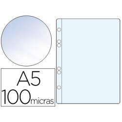 Funda multitaladro de plastico Q-Connect Din A5 100 micras cristal
