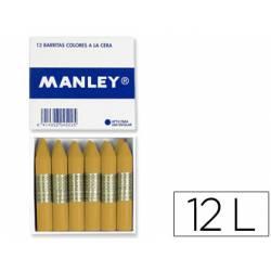 Lapices cera blanda Manley caja 12 unidades ocre madera