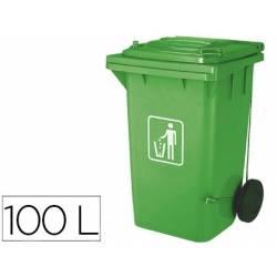 Papelera contenedor Q-connect plastico de 100 L verde