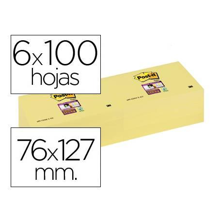 Bloc notas quita y pon Post-it ® super sticky 76 x 127 mm amarillo