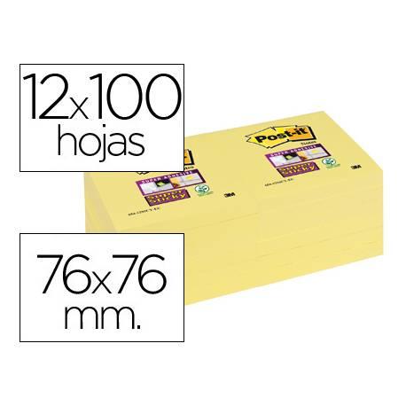 Post-it ® Bloc de notas adhesivas color amarillo quita y pon super sticky 76 x 76 mm