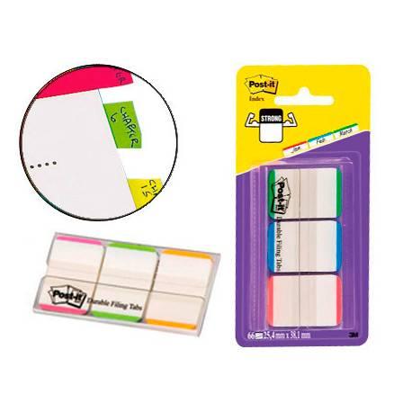 Banderitas Post-it ® separadoras Index verde, rojo y azul