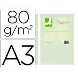 Papel color marca Q-connect A3 80g/m2 Verde pack 500 hojas