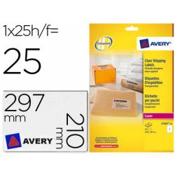 Etiquetas adhesivas marca Avery din A4 imprimibles transparente 210x297 mm