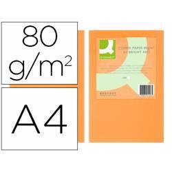 Papel color Q-connect A4 80g/m2 color naranja neon pack 500 hojas